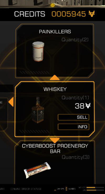 Inventory screen showing both money and whiskey
